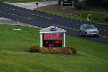 A sign at Jefferson High School welcomes back students as school started amid coronavirus disease (COVID-19) jitters in Jefferson