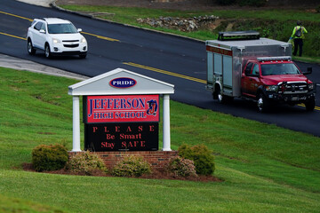 A sign at Jefferson High School references safety as school started amid coronavirus disease (COVID-19) jitters in Jefferson