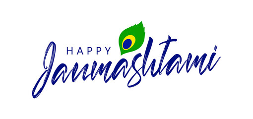 Vector Grreting card with Handwritten lettering composition of Happy Janmashtami.