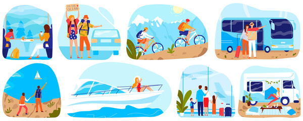 People travel, tourism vector illustration set. Cartoon flat man woman tourist characters traveling by ship airplane train or car bus, cycling in nature, family traveler adventure isolated on white