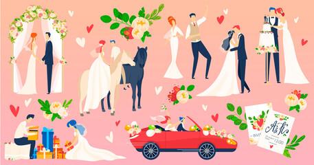 People wedding, marriage vector illustration flat set. Cartoon newlyweds character on romantic wedding ceremony scene, young bride groom dancing on weddings party celebration, traveling on honeymoon