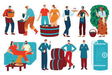 People and grapes wine vector illustration set. Cartoon flat man woman character drinking wine, winemaker harvesting grape harvest in vineyard for wine production, winemaking process isolated on white