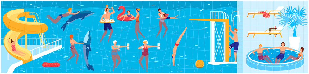 People swim in summer pool vector illustration. Cartoon flat man woman swimmers or family and kid characters swimming with dolphins, doing sport exercises, resting on blue water summertime pool party