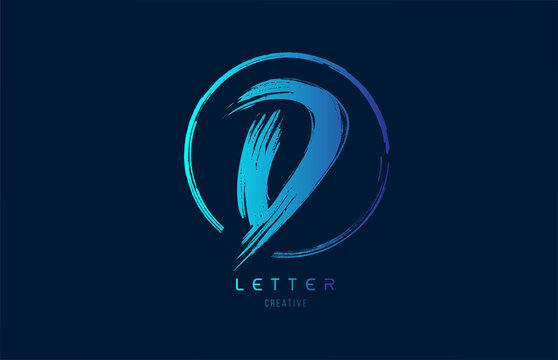 blue hand grunge brush letter D icon logo with circle. Alphabet design for a company design
