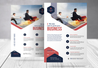 Business Flyer with Dark Blue and Red Accents
