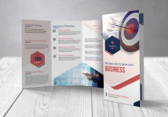 Business Trifold Flyer with Blue and Red Accents