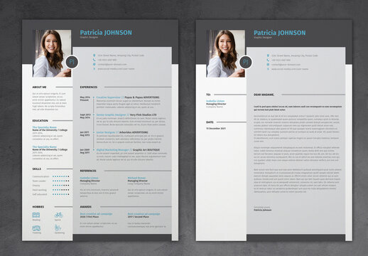 Simple Resume and Cover Letter with Blue and Grey Accents