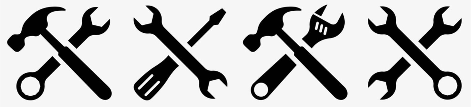 Tool icon set.Hammer turnscrew tools icon.Instrument collection. Vector illustration