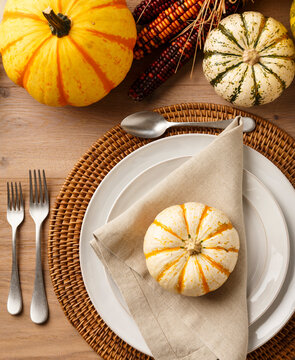 Fall Thanksgiving table setting place setting with plates, silverware, cloth napkin, placemat, miniature pumpkins and ornamental squash on rustic wood tabletop. Natural, organic home decor.