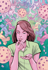 Illustration of woman eating marijuana multivitamin