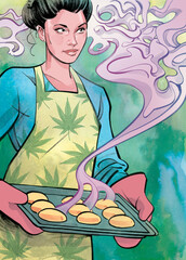 Illustration of woman holding tray of baked marijuana fish
