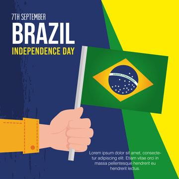 7 september, banner of celebration brazil independence day, and hand with flag vector illustration design