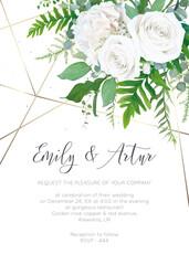 Wedding invite, invitation, save the date card design. Elegant, ivory white garden peony Rose flowers, dusty blue Eucalyptus branches, green fern leaves & metallic geometrical pattern. Vector template