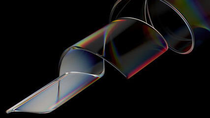 3d render of glass object with dispersion and iridescent effects. Realisitc light splitting. Luxury and modern background.