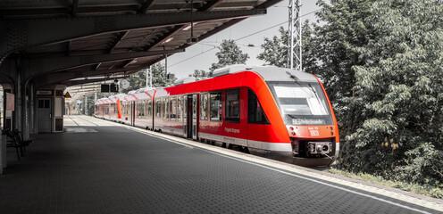 Henningsdorf, Germany, 06/13/2020: Railway station (Bahnhof) in Hennigsdorf by Berlin, Germany