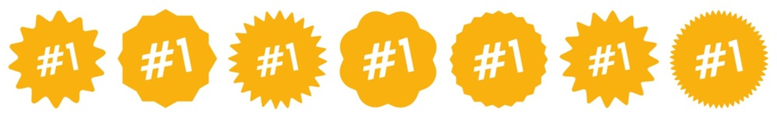 Number 1 Tag Orange | No 1 Icon | Sticker | Label | Variations
