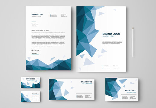 Low Poly Business Stationery Set