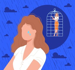 Cage in woman head, psychology vector illustration. Cartoon flat lonely sad frustrated female character crying, feeling anxiety disorder stress due to caged subconscious, need psychological therapy