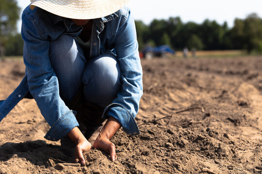 Woman digging hands in dirt on farm