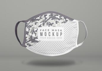 Floating Covid Face Mask Mockup