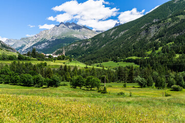The picturesque village of Saint-Paul-sur-Ubaye surrounded by the beautiful landscape of French Alps