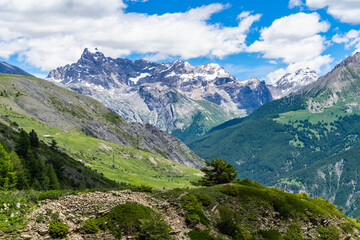 The mountain range of the Brec de Chambeyron viewed from the road climbing up to the Col de Vars