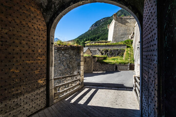 A gate entrance to the citadel of Briancon, a beautifully preserved French walled town and UNESCO World Heritage Site, France.