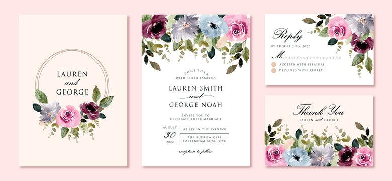 wedding invitation set with beautiful flower garden watercolor frame