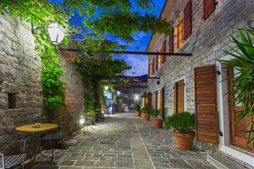 Narrow streets of the old evening Budva in Montenegro