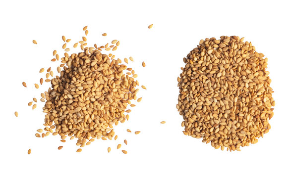 Macro shot of a raw white sesame seed isolated on white background. Top view. Food Background. A scattering of sesame seeds. Healthy food. Natural food.