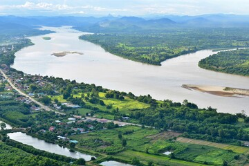 Amazing scenery above Mekong river, Mountain and Thai Countryside Nong Khai province, Thailand