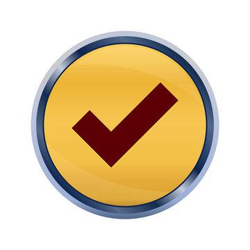 Tick mark icon super yellow round button illustration