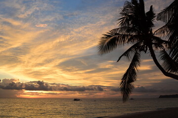 Tropical sunset on White beach. Boracay. Western Visayas. Philippines