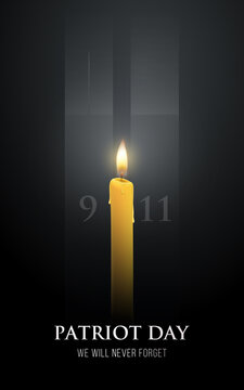 Patriot day poster. Vector banner with candles, Twin Towers shape  and text We will never forget. September 11, 2001. USA patriotic illustration..