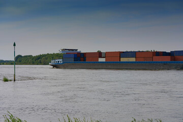 Container ship on the Rhine