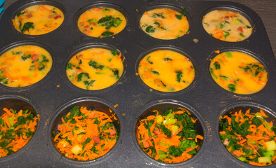 Freshly baked vegan vegetable muffins in a muffin tin