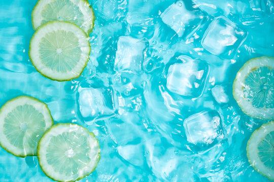 Summer cool lemon cold drink poster background