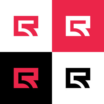 Initial letter CR or LR logo design template elements, minimal style monogram, square shape typography - Vector