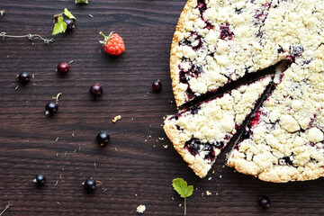 Homemade pie with berries. Summer photo receipts