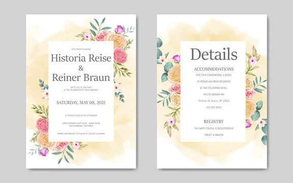Wedding invitation card with watercolor flowers frame
