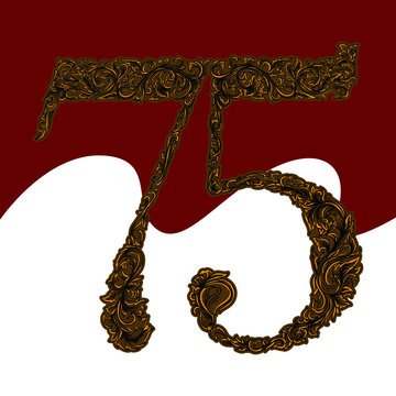 75 years of Indonesian independence with engraving ornament premium vector