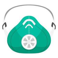 Respirator green flat icon. Device protecting wearer. Face mask with exhalation valve.
