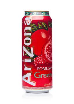 LONDON, UK - JANUARY 10, 2018: Aluminium can of Arizona Green tea pomegranate flavor soft drink on white