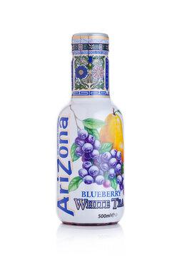 LONDON, UK - JANUARY 10, 2018: Plastic bottle of Arizona Green tea grape and pear flavor soft drink on white