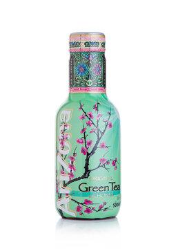 LONDON, UK - JANUARY 10, 2018: Plastic bottle of Arizona Green tea soft drink on white
