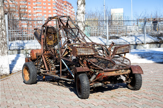 Unusual rusty car monster in Mad Max style
