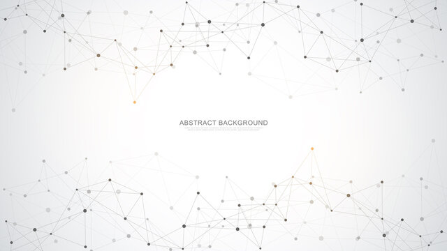 Abstract polygonal background with connecting dots and lines. Global network connection, digital technology and communication concept.