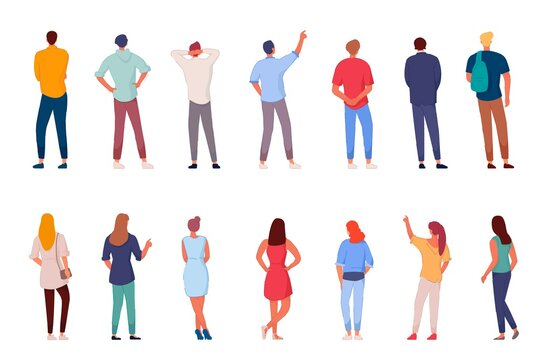 People character. Man and woman view from back set isolated on white background. Young human person diversity. Businesspeople, student, worker set. Vector people standing character illustration