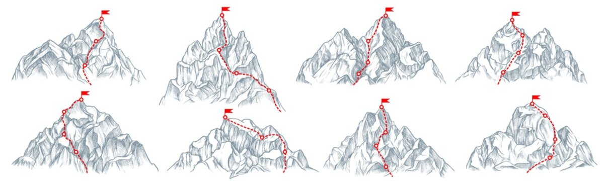 Mountain route set. Isolated climbing mountain route with flag on top icon collection. Mountain peak path, travel direction. Vector business success and goal concept
