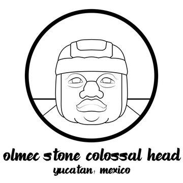 Circle icon line Olmec stone Colossal Head. vector illustration